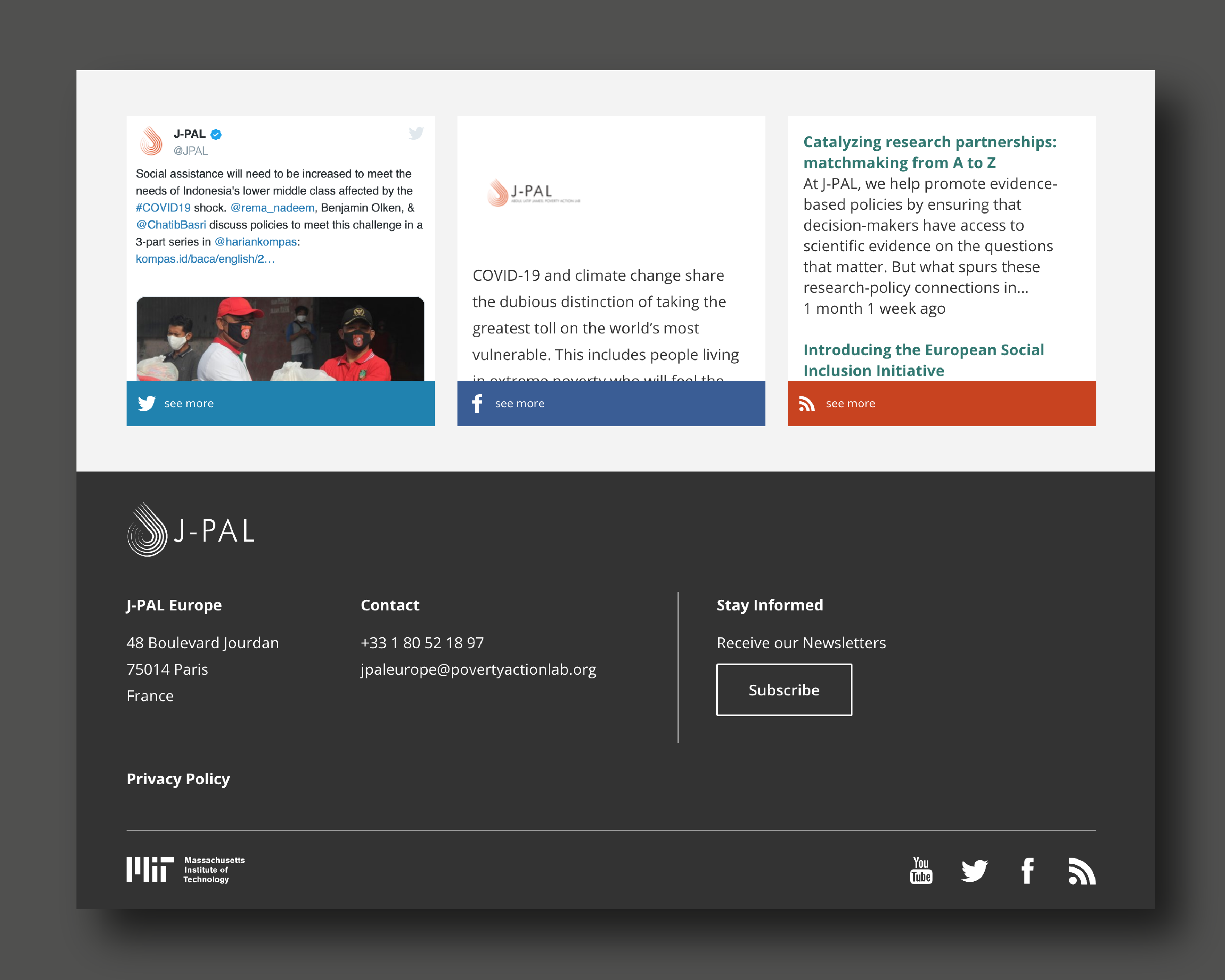 J-PAL footer with recent articles to share to social media.