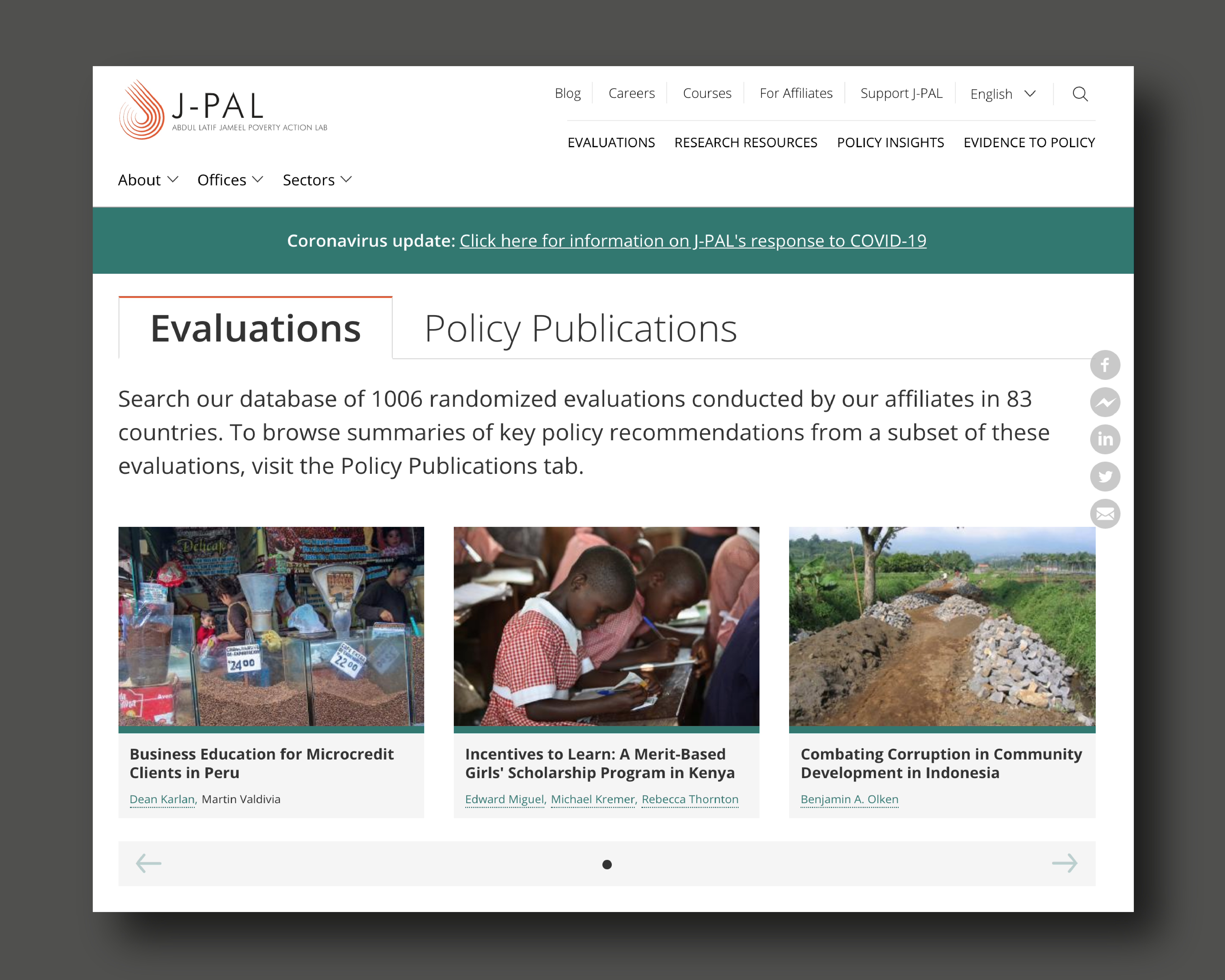 J-PAL evaluations homepage with featured evaluations