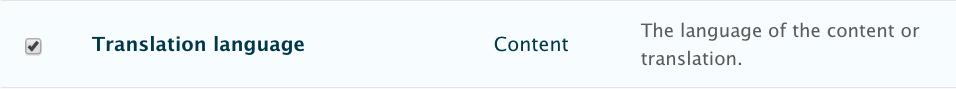 """Check box Translation Language, Content, The language of the content of translations."""